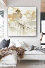 ORIGINAL Art Abstract Grey White Painting Coastal Modern Neutral Greige Taupe Gold Wall Art Decor - Christine Krainock Art - Contemporary Art by Christine - 2
