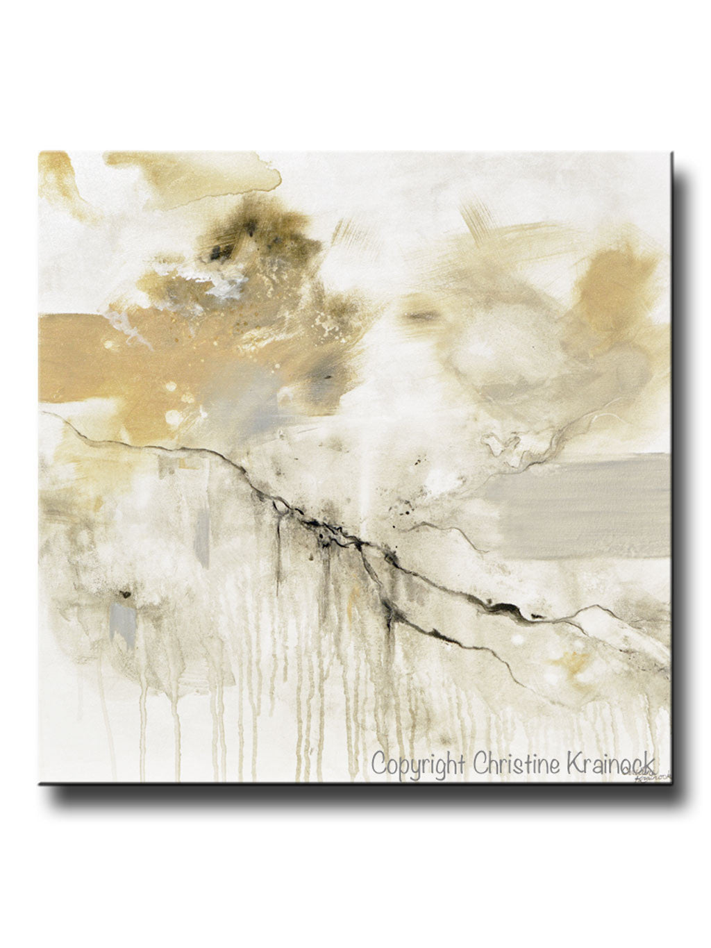 ORIGINAL Art Abstract Grey White Painting Coastal Modern Neutral Greige  Taupe Gold Wall Art Decor