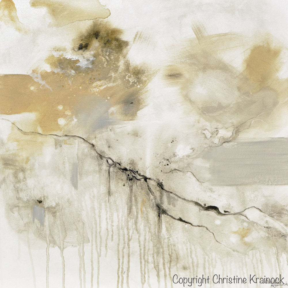 ORIGINAL Art Abstract Grey White Painting Coastal Modern Neutral Greige Taupe Gold Wall Art Decor - Christine Krainock Art - Contemporary Art by Christine - 6