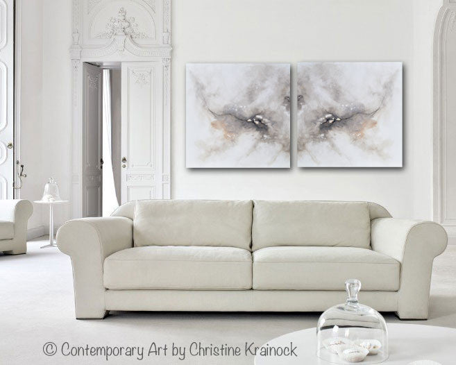 CUSTOM FOR CHARLENE-GICLEE PRINT Art Abstract Grey White Painting Canvas Prints Coastal Modern Neutral Grey Taupe Wall Art-Set of 2 - Christine Krainock Art - Contemporary Art by Christine - 5