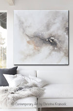 ORIGINAL Art Abstract Grey White Painting Coastal Contemporary Modern Neutral Grey Taupe Wall Art - Christine Krainock Art - Contemporary Art by Christine - 2