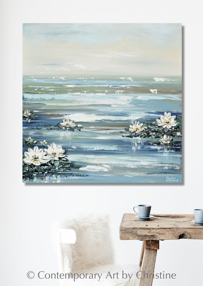 ORIGINAL Art Abstract Water Lily Painting Textured Coastal Lotus Flowers Blue White Home Decor 36x36""