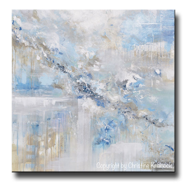 Original Art Blue Abstract Painting White Grey Coastal