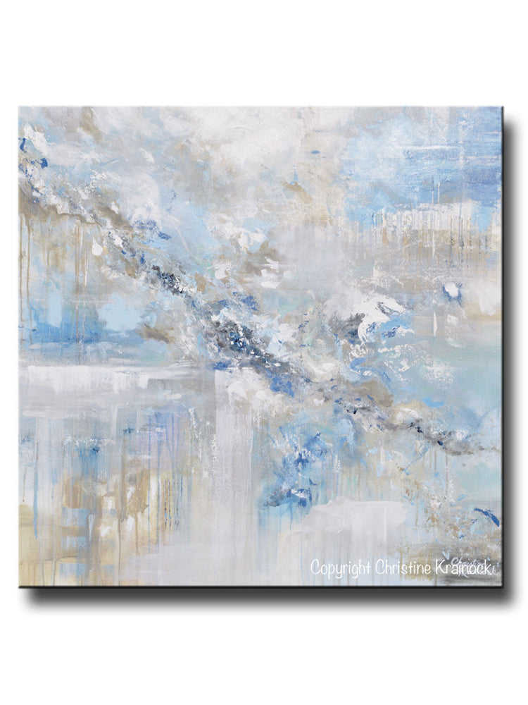 ORIGINAL Art Abstract Painting Blue White Grey Taupe Modern Textured Coastal Wall Art Decor 36x36""