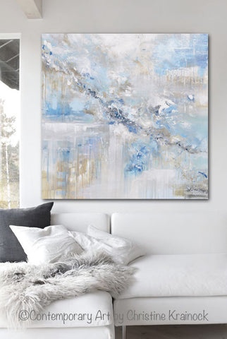 ORIGINAL Art Abstract Painting Blue White Grey Taupe Modern Textured Coastal Wall Decor 36x36