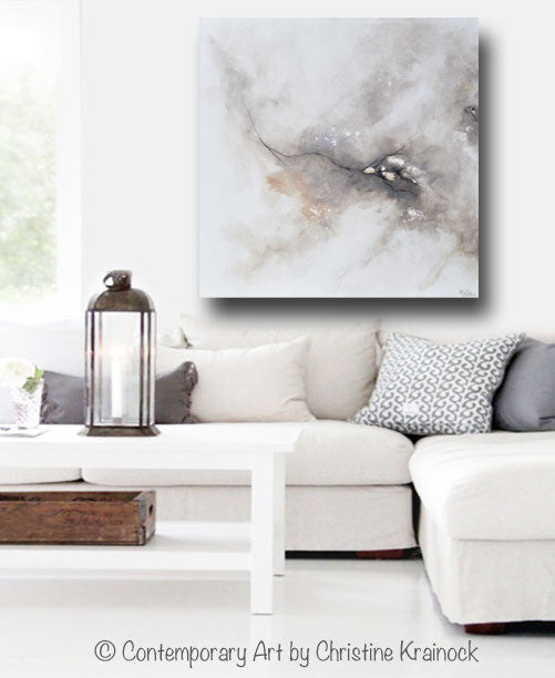 ORIGINAL Art Abstract Grey White Painting Coastal Contemporary Modern Neutral Grey Taupe Wall Art - Christine Krainock Art - Contemporary Art by Christine - 4
