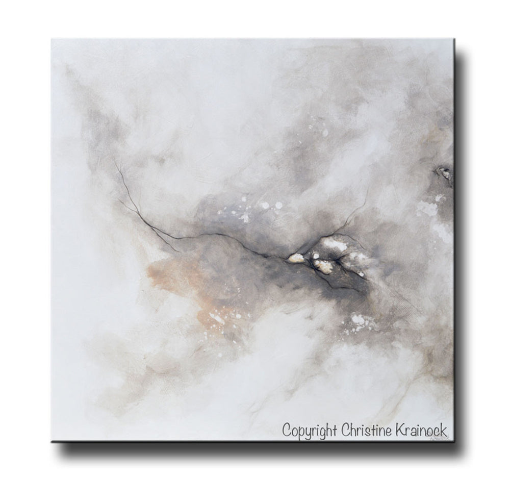 ORIGINAL Art Abstract Grey White Painting Coastal Contemporary Modern Neutral Grey Taupe Wall Art - Christine Krainock Art - Contemporary Art by Christine - 3