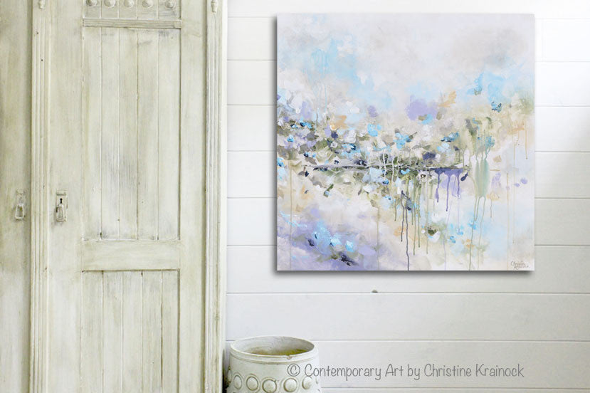 ORIGINAL Art Abstract Painting Blue White Grey Lavender Coastal Modern Diptych Wall Art Decor - Christine Krainock Art - Contemporary Art by Christine - 2