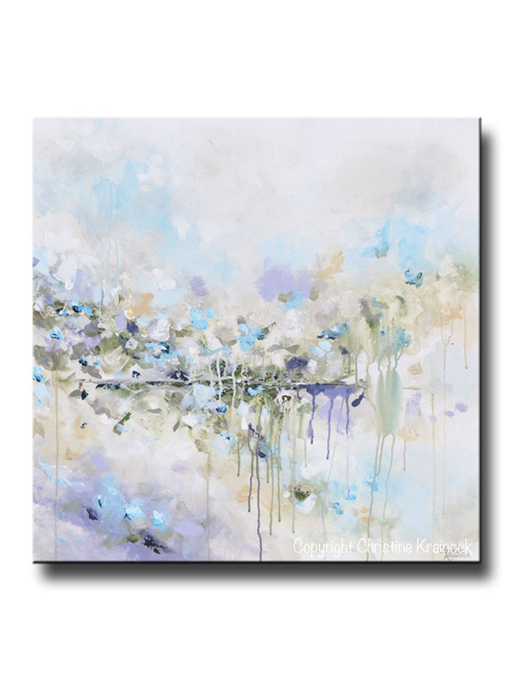 ORIGINAL Art Abstract Painting Blue White Grey Lavender Coastal Modern Diptych Wall Art Decor - Christine Krainock Art - Contemporary Art by Christine - 1