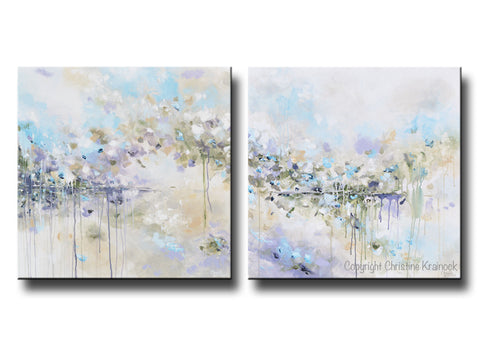 Original Art Abstract Painting Blue White Grey Lavender Coastal Modern Diptych Wall Art Decor 30x30