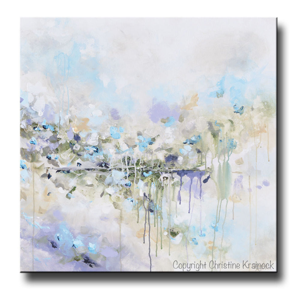 ORIGINAL Art Abstract Painting Blue White Grey Lavender Coastal Modern Diptych Wall Art Decor - Christine Krainock Art - Contemporary Art by Christine - 3