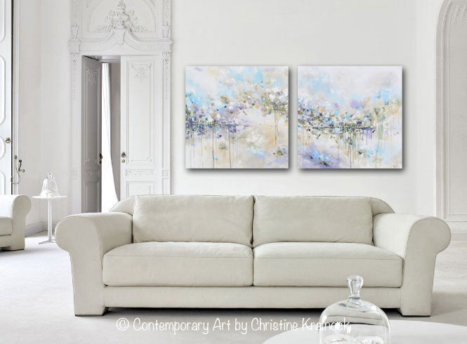 ORIGINAL Art Abstract Painting Blue White Grey Lavender Coastal Modern Diptych Wall Art Decor - Christine Krainock Art - Contemporary Art by Christine - 5