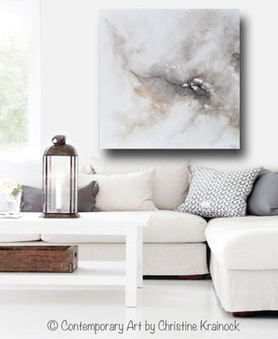 GICLEE PRINT Art Abstract Grey White Painting Coastal CANVAS PRINTS Modern  Neutral Wall Art