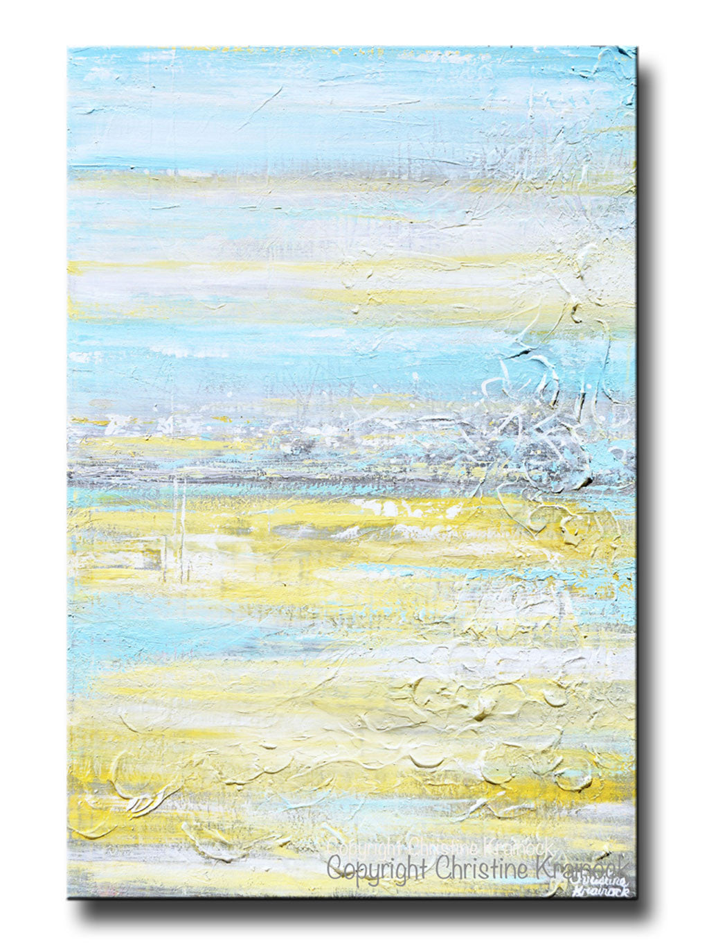 Original Art Abstract Painting Yellow Grey Turquoise Blue Modern