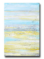 ORIGINAL Art Abstract Painting Yellow Grey Turquoise Blue Textured Coastal Wall Decor 36x24""