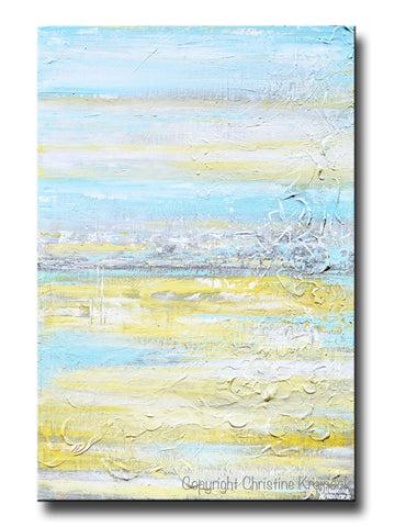 ORIGINAL Art Abstract Painting Yellow Grey Turquoise Blue Textured Landscape Field Horizon Coastal Wall Decor 36x24""