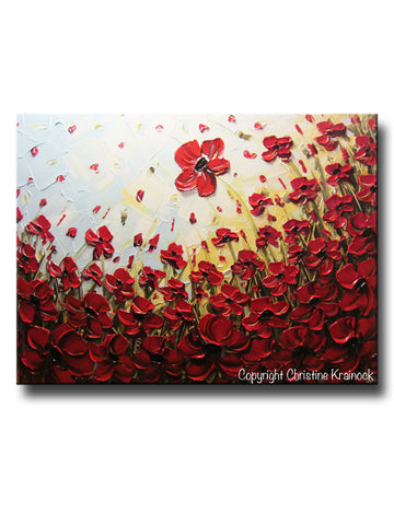 ORIGINAL Art Abstract Painting Red Poppy Flowers Landscape Large Canvas Textured Spring Poppies - Christine Krainock Art - Contemporary Art by Christine - 1