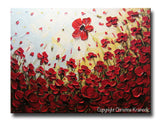ORIGINAL Art Abstract Painting Red Poppy Flowers Landscape Large Canvas Textured Spring Poppies - Christine Krainock Art - Contemporary Art by Christine - 3