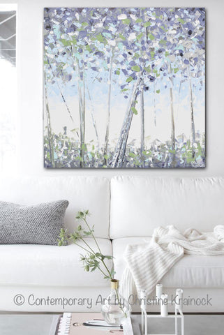 ORIGINAL Art Abstract Trees Painting Modern Textured Birch White Blue Grey Lavender Green Wall Art  sc 1 st  Contemporary Art by Christine & ORIGINAL Art Abstract Trees Painting Modern Textured Birch White ...