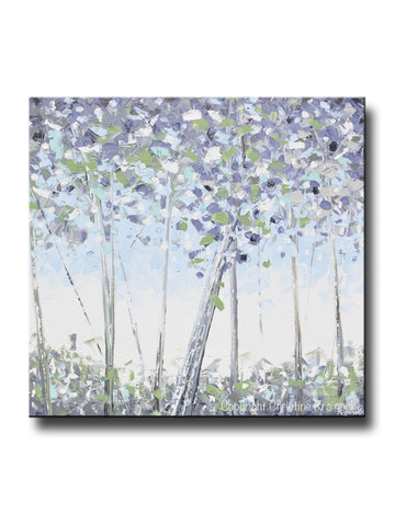 ORIGINAL Art Abstract Trees Painting Modern Textured Birch White Blue Grey Lavender Green Wall Art - Christine Krainock Art - Contemporary Art by Christine - 1