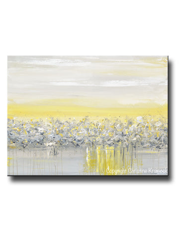 ORIGINAL Art Yellow Grey Abstract Painting Modern Coastal Horizon Gold White Wall Art 30x40""