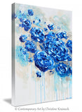 GICLEE PRINT Large Art Abstract Painting Blue Flowers Navy Blue White Floral Canvas Print Botanical - Christine Krainock Art - Contemporary Art by Christine - 5