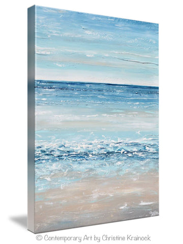 giclee print art blue abstract painting canvas art beach coastal