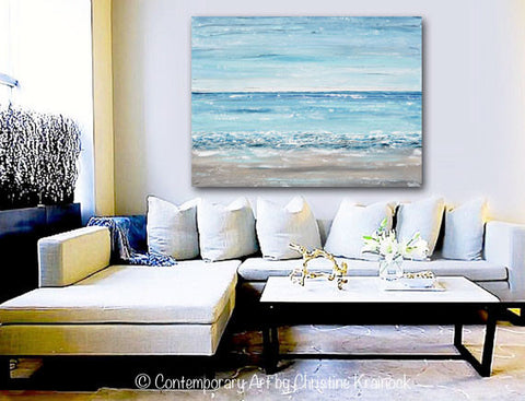 ORIGINAL Art Abstract Painting Textured Seascape Beach Ocean Blue White Grey Beige LARGE Canvas Coastal Home