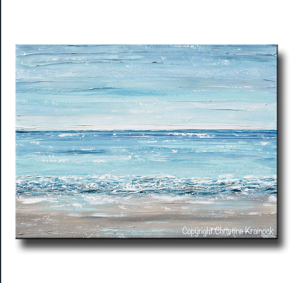 ORIGINAL Art Abstract Painting Textured Seascape Beach Ocean Blue White Grey Beige LARGE Canvas Coastal Home Decor Wall Art 36x48""