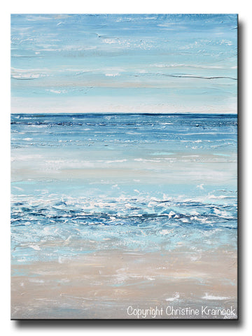 ORIGINAL Art Abstract Painting Textured Seascape Beach Ocean Blue White Grey Beige LARGE Vertical Canvas Coastal Wall Art Decor 36x48""