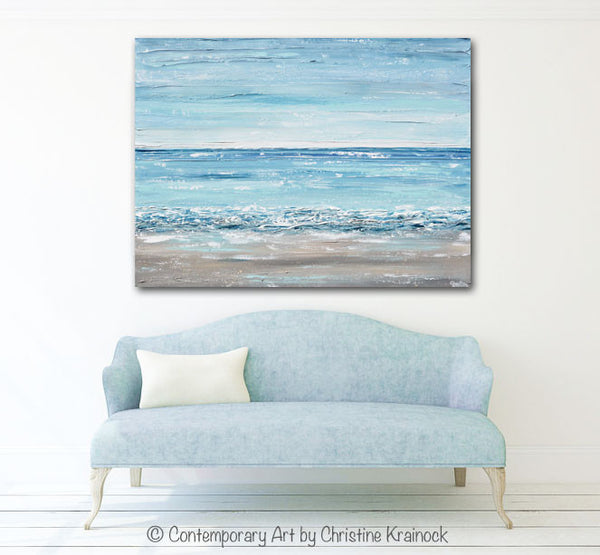 Sold Original Abstract Painting Pearl White Blue Wall Art: ORIGINAL Art Blue Abstract Painting Large Textured Beach