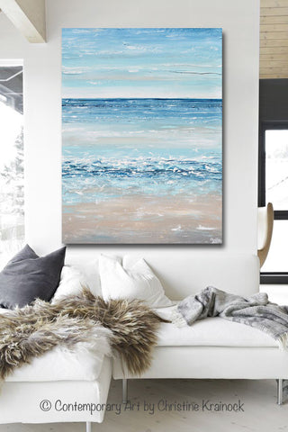 Blue Canvas Wall Art giclee print art blue abstract painting canvas art beach coastal