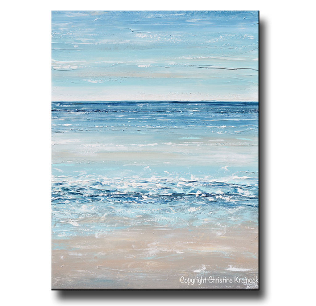 Sold Original Abstract Painting Pearl White Blue Wall Art: Giclee Print Art Blue Abstract Painting Canvas Art Beach