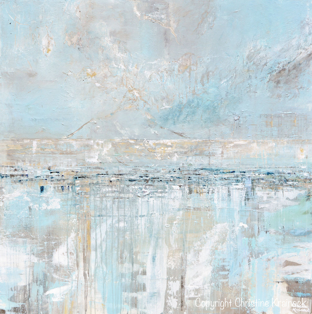 """Sea Breeze"" ORIGINAL Art Abstract Painting Textured Coastal Landscape Home Decor Light Blue Grey White X LARGE 48x48"""