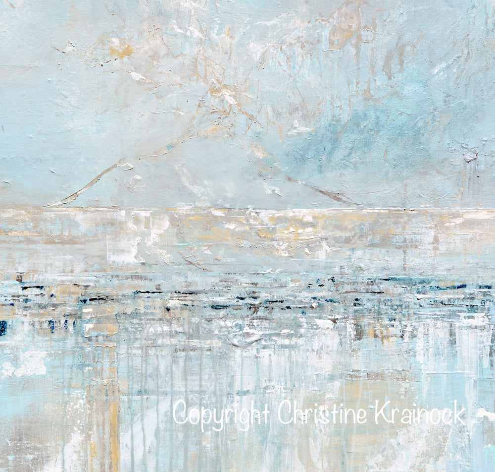 CUSTOM FOR MOIRA Original Art Abstract Painting Textured Canvas Coastal Landscape Horizon Home Decor Light Blue Grey White X LARGE Triptych Canvases