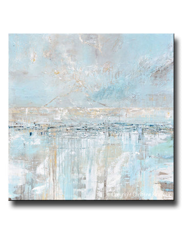 ORIGINAL Art Abstract Painting Textured Canvas Coastal Landscape Horizon Home Decor Light Blue Grey White X LARGE Wall Art 48x48""