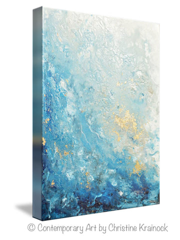 Giclee Print Art Abstract Painting Ocean Blue White Seascape Coastal