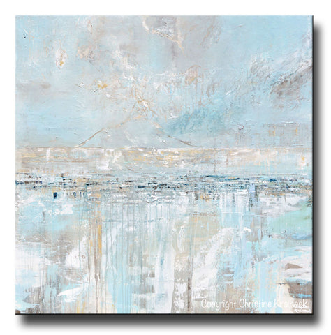 ORIGINAL Art Abstract Painting Blue Grey Textured Coastal ...