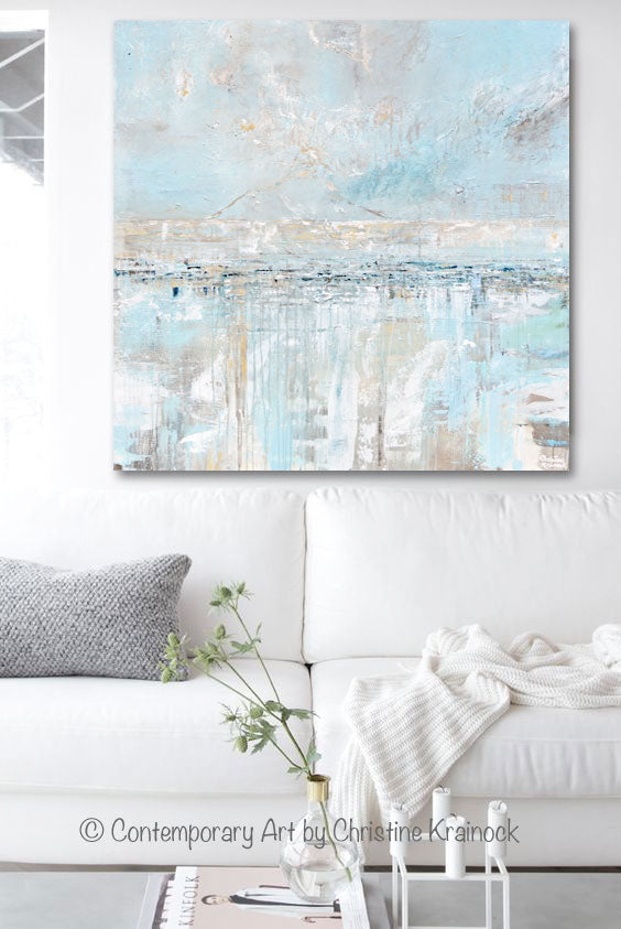 Giclee Print Light Blue Coastal Abstract Painting Sea Breeze - Canvas Print Home Decor Wall Art