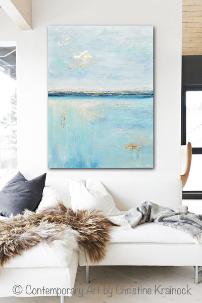 Original Art Blue Abstract Painting Seascape Ocean Aqua