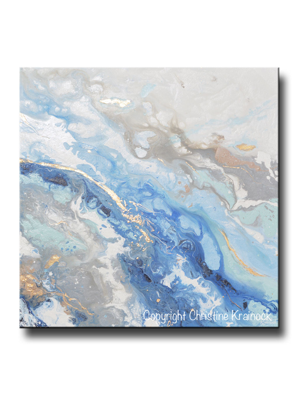Original Art Modern Blue White Abstract Painting Marbled Gold Leaf