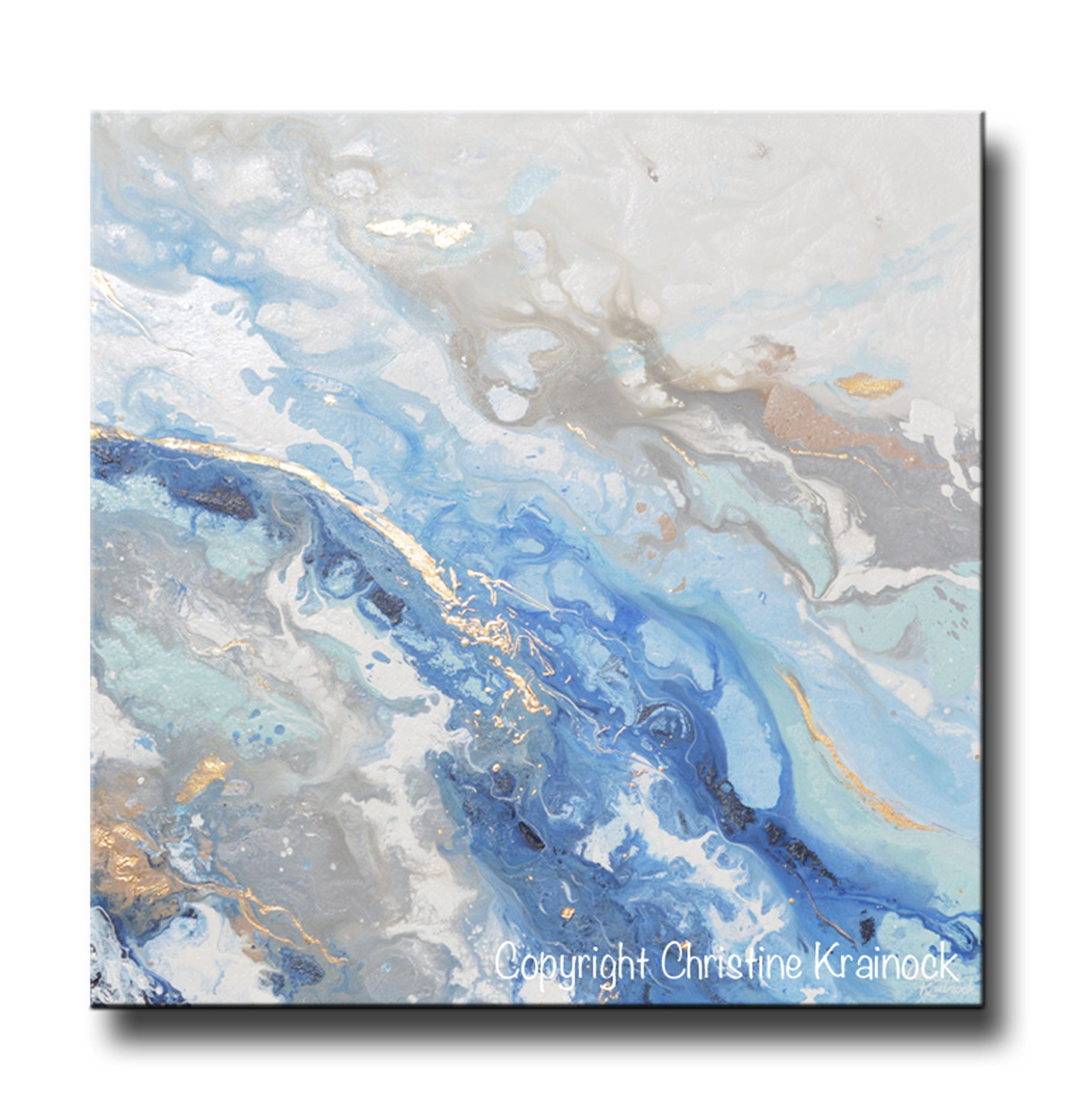 Original Art Modern Blue White Abstract Painting Marbled Gold Leaf Gre Contemporary Art By Christine
