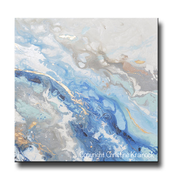 Sold Original Abstract Painting Pearl White Blue Wall Art: ORIGINAL Art Modern Blue White Abstract Painting Marbled