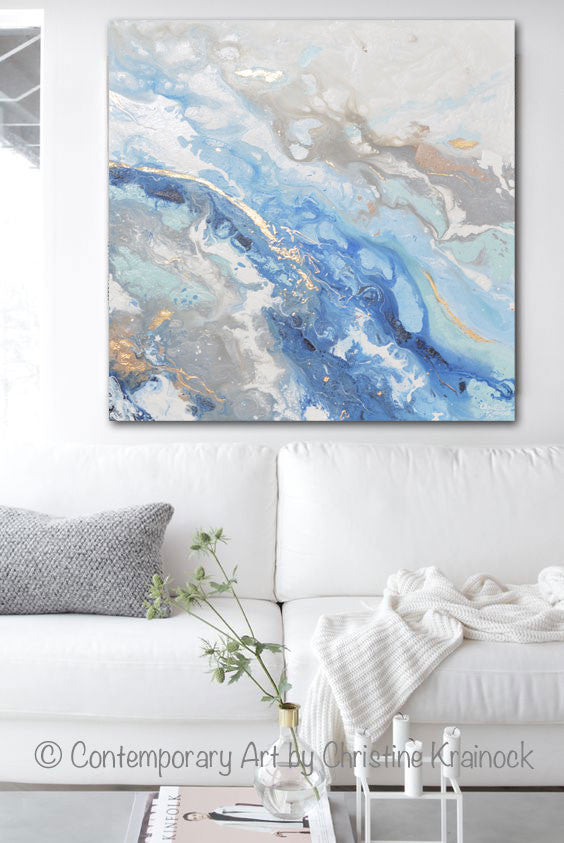 ORIGINAL Art Modern Blue White Abstract Painting Marbled Blue Grey Gold Leaf Coastal Decor Wall Art - Christine Krainock Art - Contemporary Art by Christine - 2