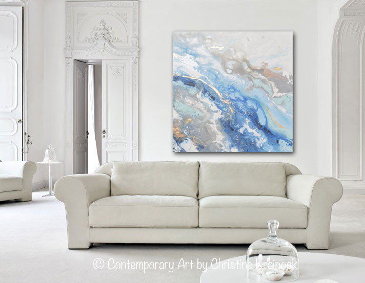 ORIGINAL Art Modern Blue White Abstract Painting Marbled Blue Grey Gold Leaf Coastal Decor Wall Art - Christine Krainock Art - Contemporary Art by Christine - 4