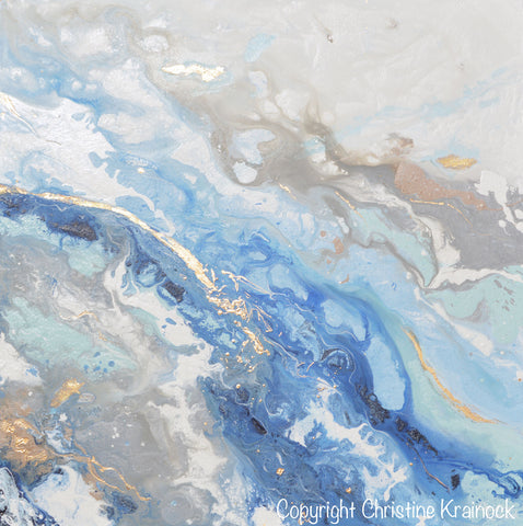 Coastal Abstract Paintings Blue