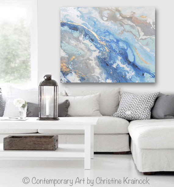 """Found Solace II"" GICLEE PRINT Art Modern Blue White Abstract Painting Gold Leaf Coastal Beach"