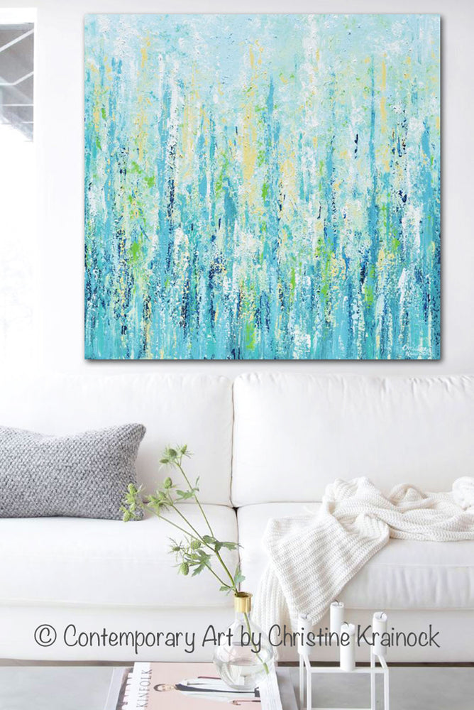 GICLEE PRINT Art Abstract Painting Light Blue Aqua Contemporary Coastal Wall Art Teal Yellow Canvas - Christine Krainock Art - Contemporary Art by Christine - 2
