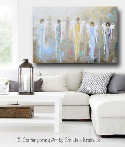 ORIGINAL Abstract Angels Painting Large Art Home Decor ...