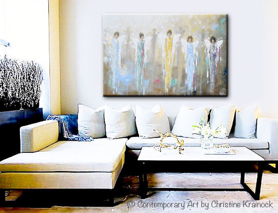 ORIGINAL Abstract 5 Guardian Angels Painting Modern Textured Blue Brown Gold Palette Knife Wall Art - Christine Krainock Art - Contemporary Art by Christine - 5